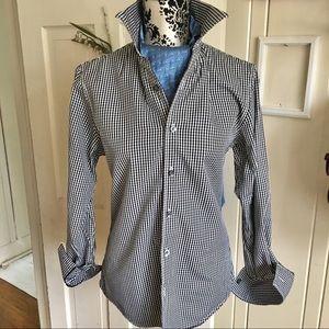 Club Monoco shirt -XS Black check , 2 ply cotton